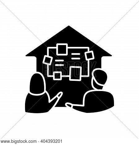 Homeschooling Curriculum Glyph Icon. Parents Determine The Curriculum Of Their Children. Online Educ