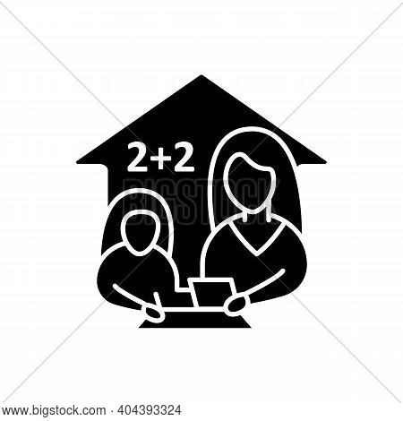 Mathematics Lesson Glyph Line Icon. Child Teaches Math With His Mother. Home Education Concept. Dist