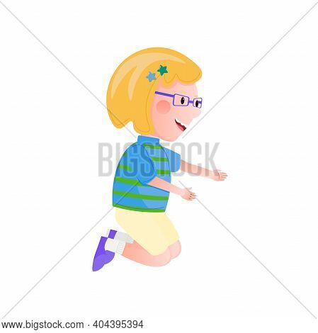 Little Girl Wearing Glasses, Shorts, Striped T-shirt And Sneackers Kneeling.