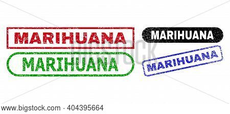 Marihuana Grunge Seal Stamps. Flat Vector Grunge Stamps With Marihuana Phrase Inside Different Recta