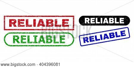 Reliable Grunge Stamps. Flat Vector Grunge Stamps With Reliable Slogan Inside Different Rectangle An