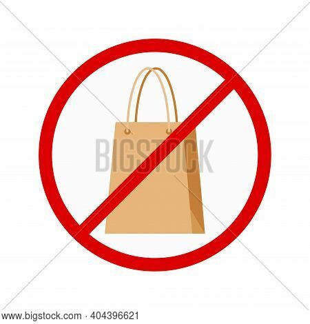 Paper Shopping Bag In Red Crossed Circle. Flat Style Crossed Out Supermarket Store Packaging Icon Is
