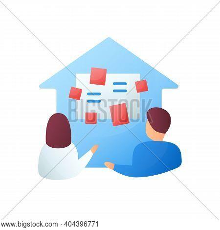 Homeschooling Curriculum Flat Icon. Parents Determine The Curriculum Of Their Children. Online Educa