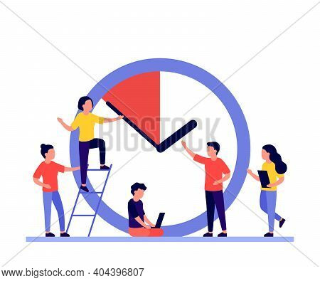 Work Time Management Concept, People And Clock, Deadline. Business Timing, Concept Of Interaction Pe