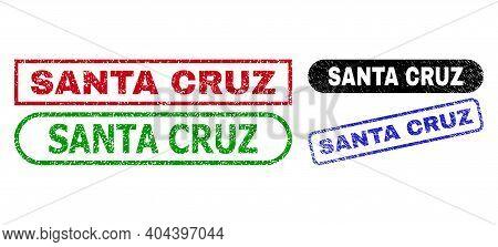Santa Cruz Grunge Seal Stamps. Flat Vector Grunge Seals With Santa Cruz Title Inside Different Recta