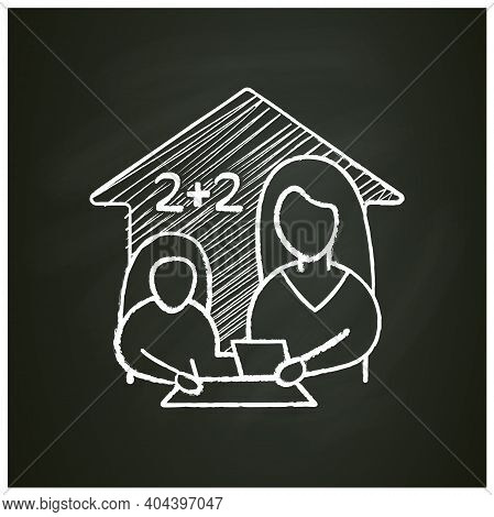 Mathematics Lesson Chalk Icon. Child Teaches Math With His Mother. Home Education Concept. Distance