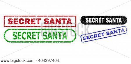 Secret Santa Grunge Seal Stamps. Flat Vector Scratched Seal Stamps With Secret Santa Title Inside Di