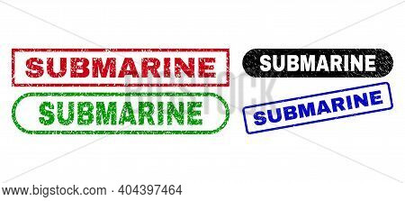 Submarine Grunge Seals. Flat Vector Scratched Seals With Submarine Text Inside Different Rectangle A