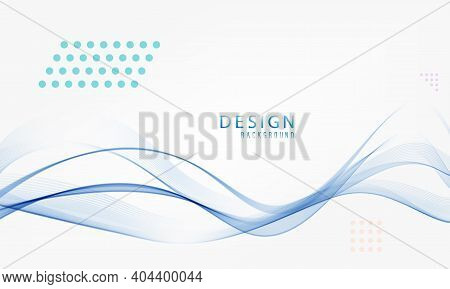 Abstract Blue Lines On A White Background. Line . Blue Wave With Lines. Curved Wavy Line Smooth .des