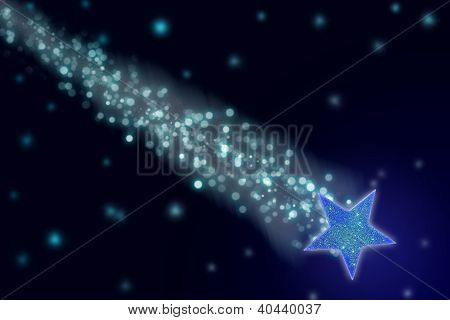 Shooting star in the black night sky. poster