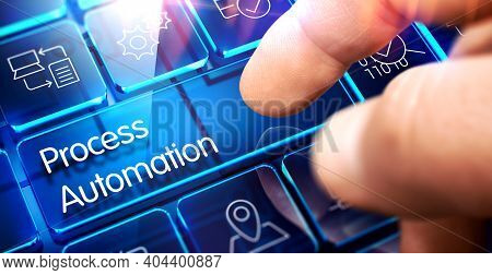 Process Automation Key On The Futuristic Keyboard.process Automation Written On Blue Transparent Key