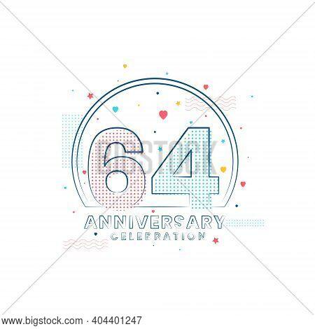 64 Years Anniversary Celebration, Modern 64 Anniversary Design Vector Illustration