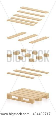 Wooden Pallet Components. Separate Parts To Construct A Skid, A Brand New, Undamaged, Intact, Perfec