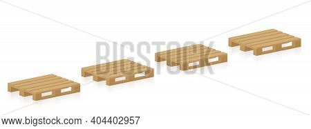 Wooden Pallets, Four Skids In A Row For Transport, Packaging, Industry, Freight, Storage. Brand New,