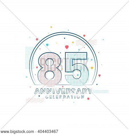 85 Years Anniversary Celebration, Modern 85 Anniversary Design Vector Illustration