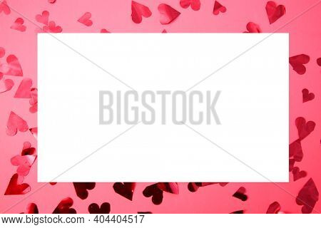 Valentines Day. Picture Frame. Pink Valentine's Day Picture Frame with Red Hearts. Room for Image or text. February 14th is the day for Lovers World Wide. Happy Valentines Day.