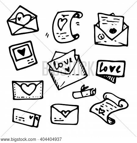Vintage Vector Cartoon Illustration Of Letters, Postcards With A Heart Doodle Set On A White Backgro