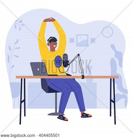 Radio Host.podcast Concept Illustration. Young Happy Man Radio Hosts Character Podcaster Talking Com