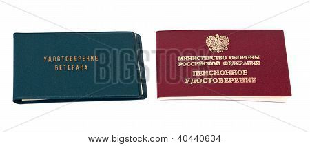 Russian Pension And Veteran Certificate Over White