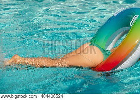 Sexy Summer Woman Butt. Girl Buttocks In Bikini. Summertime Woman In Swimming Pool