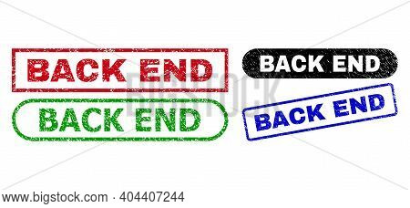 Back End Grunge Seals. Flat Vector Grunge Stamps With Back End Text Inside Different Rectangle And R