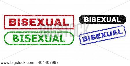 Bisexual Grunge Stamps. Flat Vector Textured Stamps With Bisexual Message Inside Different Rectangle