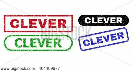 Clever Grunge Seal Stamps. Flat Vector Grunge Seals With Clever Text Inside Different Rectangle And