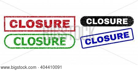 Closure Grunge Seal Stamps. Flat Vector Distress Seal Stamps With Closure Message Inside Different R