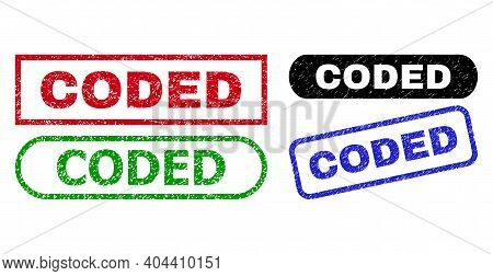 Coded Grunge Stamps. Flat Vector Grunge Stamps With Coded Slogan Inside Different Rectangle And Roun