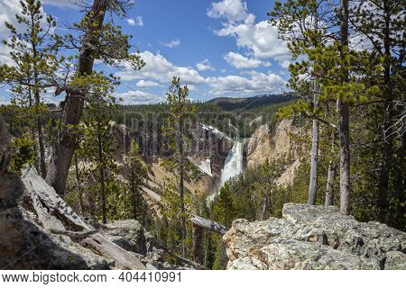 High Angle View Of Yellowstone Falls In Yellowstone National Park On A Sunny Day