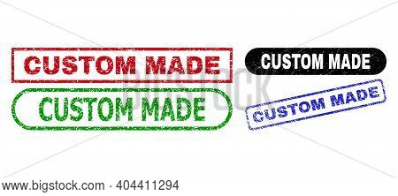 Custom Made Grunge Watermarks. Flat Vector Scratched Watermarks With Custom Made Title Inside Differ