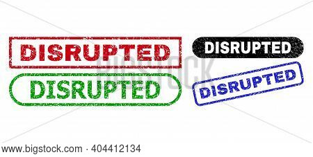 Disrupted Grunge Seal Stamps. Flat Vector Textured Seal Stamps With Disrupted Text Inside Different