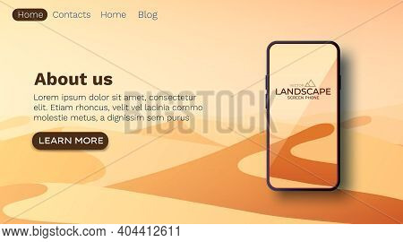 Desert Landscape. Sand Dunes. Nature Background. Smartphone Screen Wallpaper Mockup. Vector