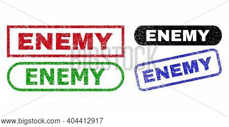 Enemy Grunge Seal Stamps. Flat Vector Textured Seal Stamps With Enemy Message Inside Different Recta