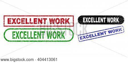 Excellent Work Grunge Seal Stamps. Flat Vector Scratched Seal Stamps With Excellent Work Tag Inside