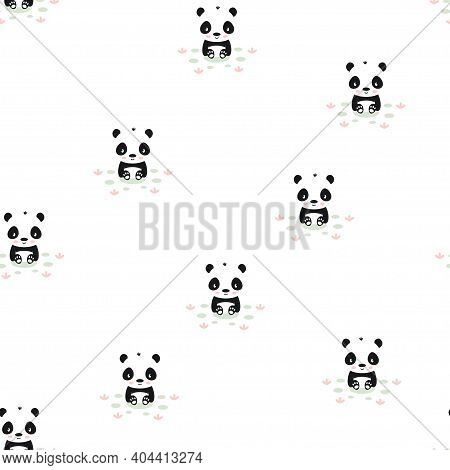 Panda Seamless Pattern With Plants, Cute Vector Background With Baby Animal Panda, Child Style Illus