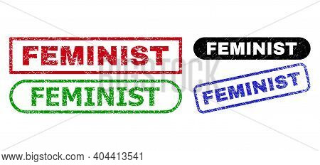 Feminist Grunge Seal Stamps. Flat Vector Textured Seal Stamps With Feminist Tag Inside Different Rec