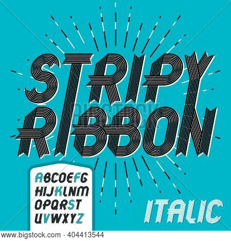Vector Trendy Vintage Capital English Alphabet Letters Collection. Funky Italic Bold Font, Typescrip