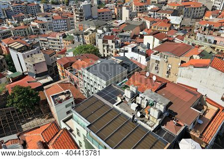 Istanbul, Turkey - October 07, 2020. Skyline Of Istanbul. View Of The The Beyoglu District From Gala