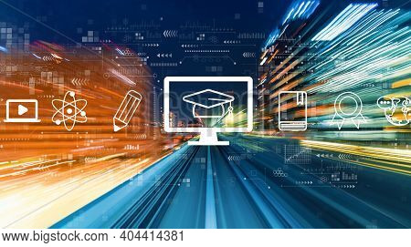 E-learning Concept With Abstract High Speed Technology Motion Blur