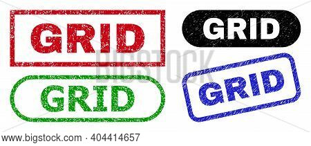 Grid Grunge Seal Stamps. Flat Vector Scratched Seal Stamps With Grid Phrase Inside Different Rectang