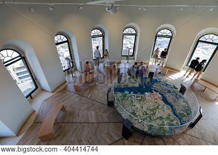 Istanbul, Turkey - October 07, 2020. Galata Tower - Interior View Of The Upper Floor During Pandemic