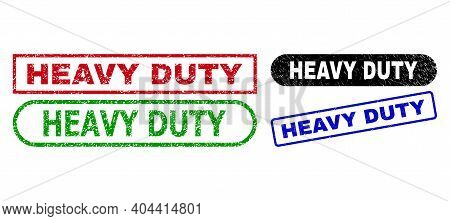 Heavy Duty Grunge Seal Stamps. Flat Vector Grunge Seal Stamps With Heavy Duty Phrase Inside Differen