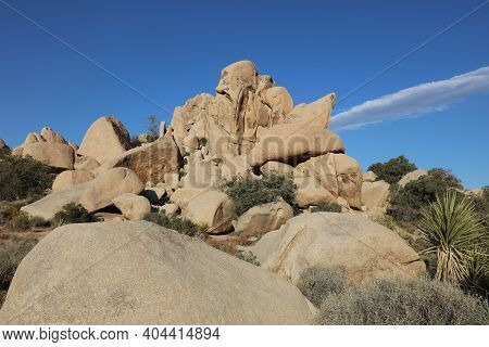Rock Formation At Hidden Valley Trail In Joshua Tree National Park. California. Usa