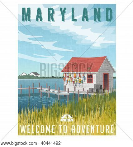 Maryland, United States Travel Poster Or Sticker. Retro Style Vector Illustration Of Fictional Fishi