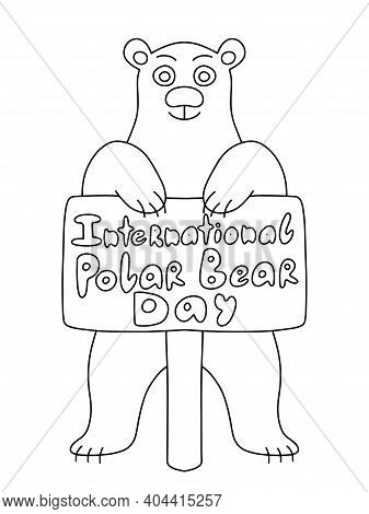 International Polar Bear Day Coloring Page For Kids And Adults Stock Vector Illustration. Big Cartoo