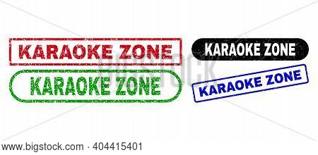 Karaoke Zone Grunge Seal Stamps. Flat Vector Scratched Watermarks With Karaoke Zone Text Inside Diff