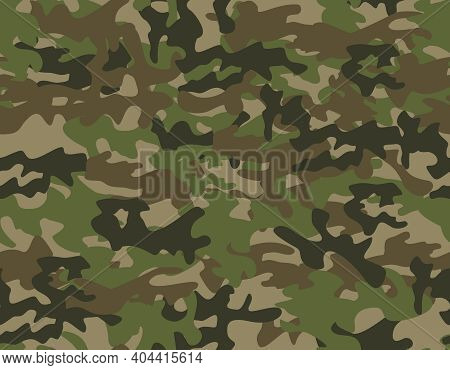 Seamless Military Camouflage Pattern In Green Colour. Bright Ornament For Defenders Of The Fatherlan