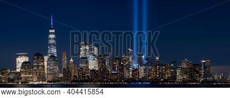 September 11 Memorial Lights Panorama