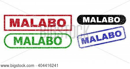 Malabo Grunge Watermarks. Flat Vector Grunge Watermarks With Malabo Text Inside Different Rectangle